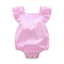 Baby Girls Pink Rompers Infant Newborn Baby Clothes Striped Cotton Suspenders Sleeveless Rompers Jumpsuit Overall cheap pudcoco Solid Covered Button O-Neck