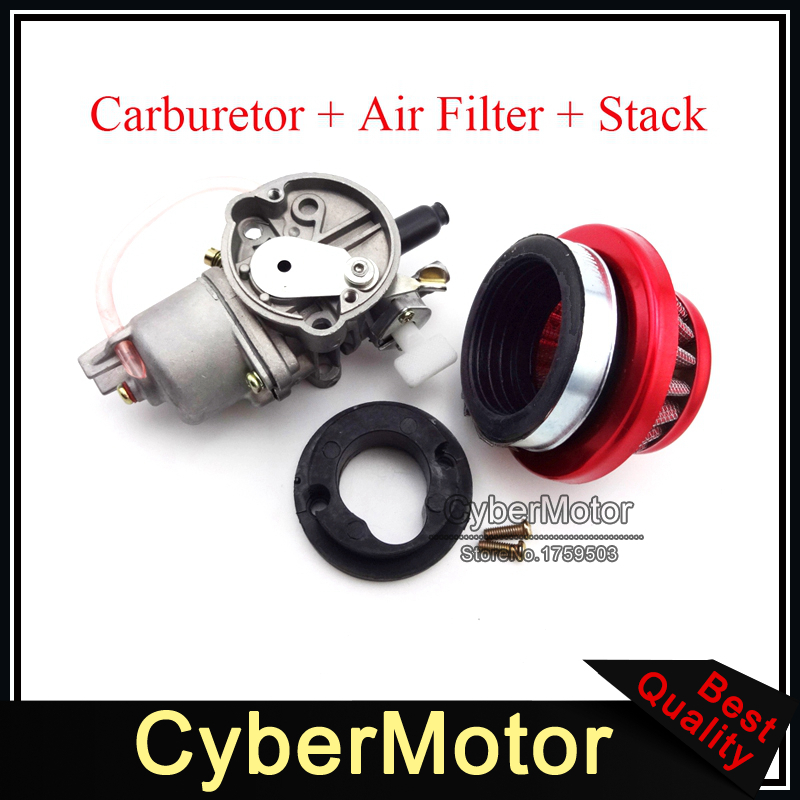 Minimoto Carburetor Carb Carby Red Air Filter Stack For 2 Stroke 47cc 49cc Engine Parts Mini Moto Kids ATV Quad Dirt Pocket Bike 44mm cylinder piston spark plug gasket big bore kit for 47cc 49cc 2 stroke mini dirt bike mini atv quad pocket bikes mini moto