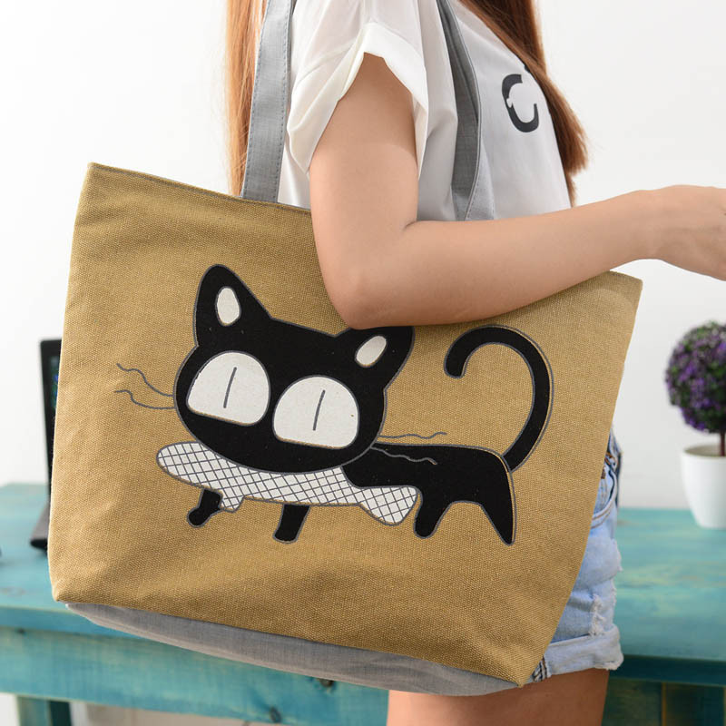 New Trend Cat Printing Apparel Canvas Shoulder Bag Cat Bag Hot Sale Woman Messenger Handbag Big Shopping Bag De16 Drop Shipping цена