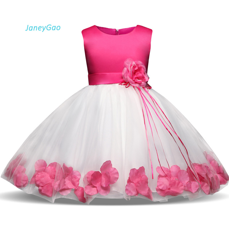 JaneyGao 2019 New   Flower     Girl     Dresses   For Wedding Party Formal Gown Kids Wear White Pink First Communion Princess Pageant   Dress