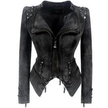 SX Gothic Gray PUNK Rivet Jackets Women Denim Jacket Spring