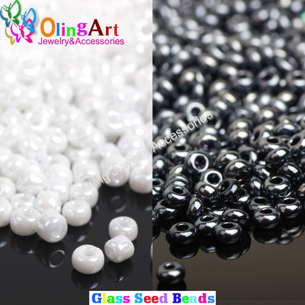 2MM Glass Seed Beads Opaque Colors Lustered White/Black about 2500pcs/bag spacer round bead DIY Jewelry Making ,Free Shipping!!