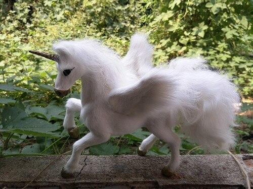 Nouvelle simulation licorne jouet polyéthylène & fourrures blanc pégase poupée cadeau environ 23x14x20 CM 267