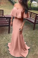 2019 Women Mermaid Evening Dresses Sexy Off The Shoulder Boat Neck Formal Party Floor Length Long Gown Pink Satin robe de soiree