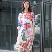 1a23b5e3c SEQINYY Summer Dress 2019 New Fashion Design Women High Quality Splice Lace  White Lining Knee Flowers