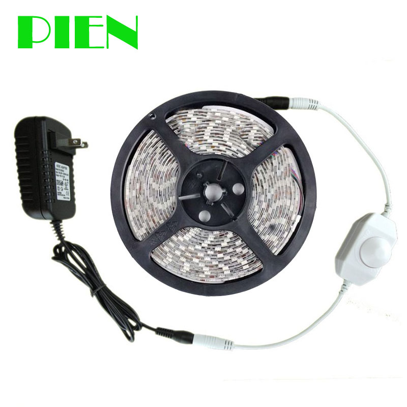 12V LED Strip 5m Dimmable 300 LEDs Tira 2835smd Waterproof Indoor Outdoor Decor Kit  + Led Dimmer + Power Adapter Free Shipping