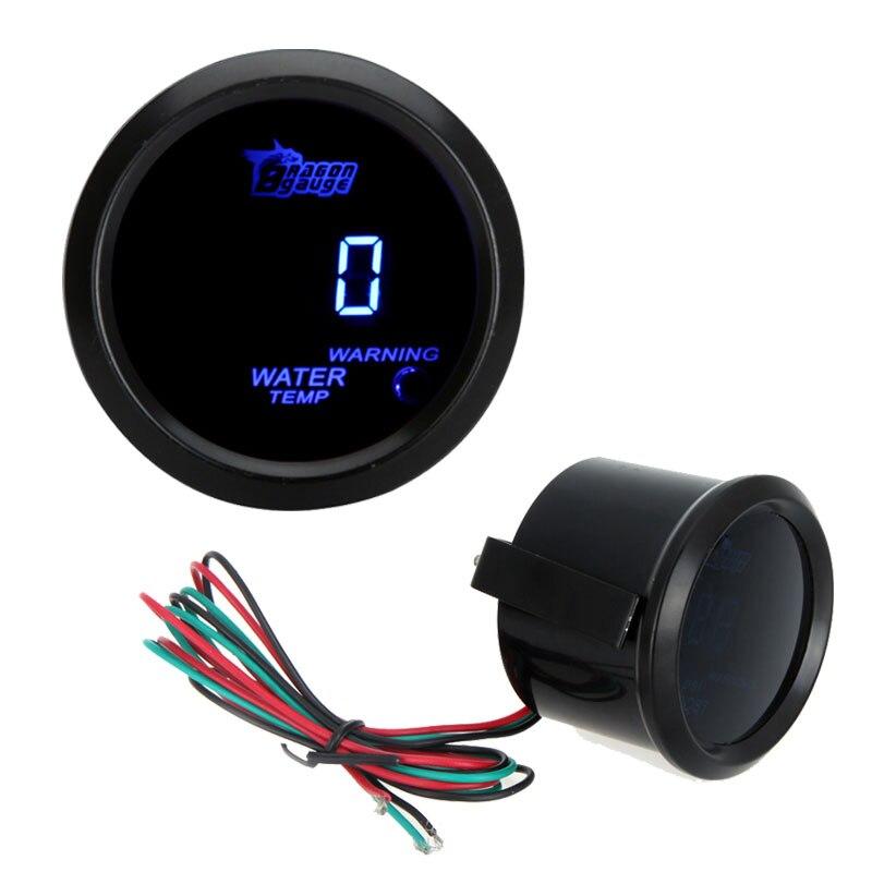물 온도 미터 자동차 디지털 물 온도 미터 게이지 센서 자동 자동차 52 미리메터 인치 LCD 40 ~ 120 섭씨