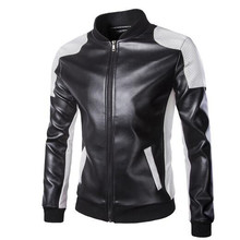 New Motorcycle Jackets Men Vintage Retro PU Leather Jacket Punk Windproof Biker Classical Stand Collar Slim
