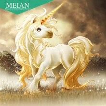Meian, полная, алмазная живопись, единорог животное, 5D, алмазная вышивка, вышивка крестом, 3D, Daimant мозаика, стразы на картинках, подарок
