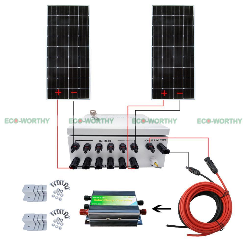 2pcs 160W 12V Mono Solar Panel W/ 6 String PV Combiner Box for Car Boat Solar Generators 12 string input to 1 string output for off grid solar energy system photovoltaic array solar pv combiner box