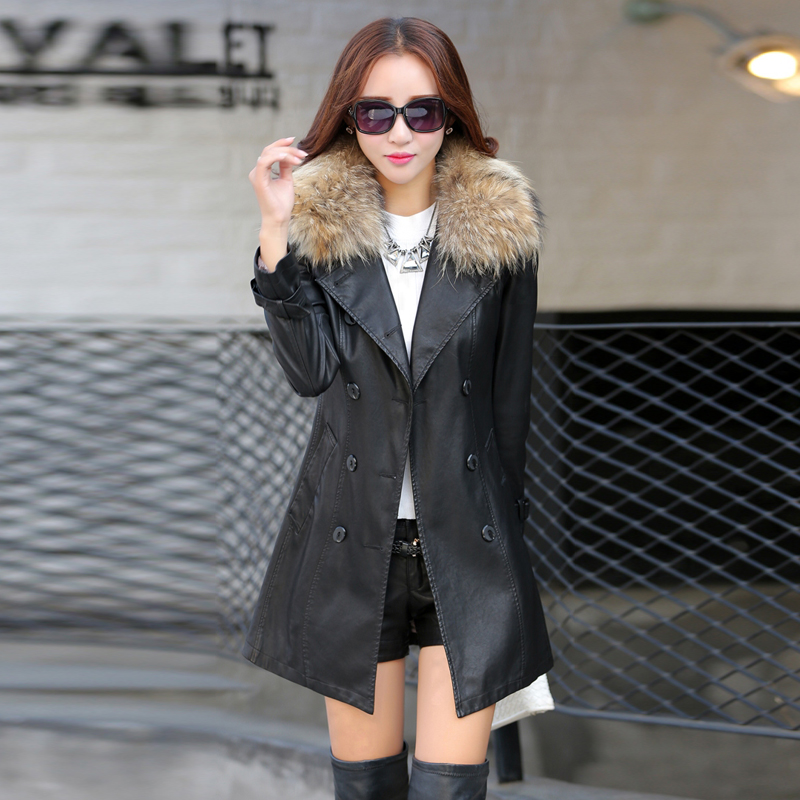 leather   jacket women spring and autumn Long design slim raccoon fur collar black red fur   leather   jacket plus size M-5XL 967