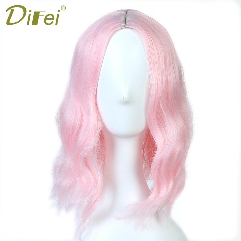 DIFEI Long Wavy Curly Pink Bob Wigs for Women Heat Resistant Synthetic Mediem Part Hair Wigs Wavy Style Bob Hair Piecies