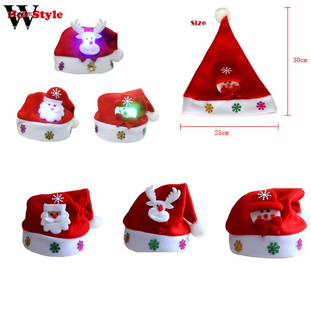 Womail Fashion Kids LED Hat Cap for Christmas Santa Claus Reindeer Xmas Gifts Cap christmas decorations for home 2017 OT20