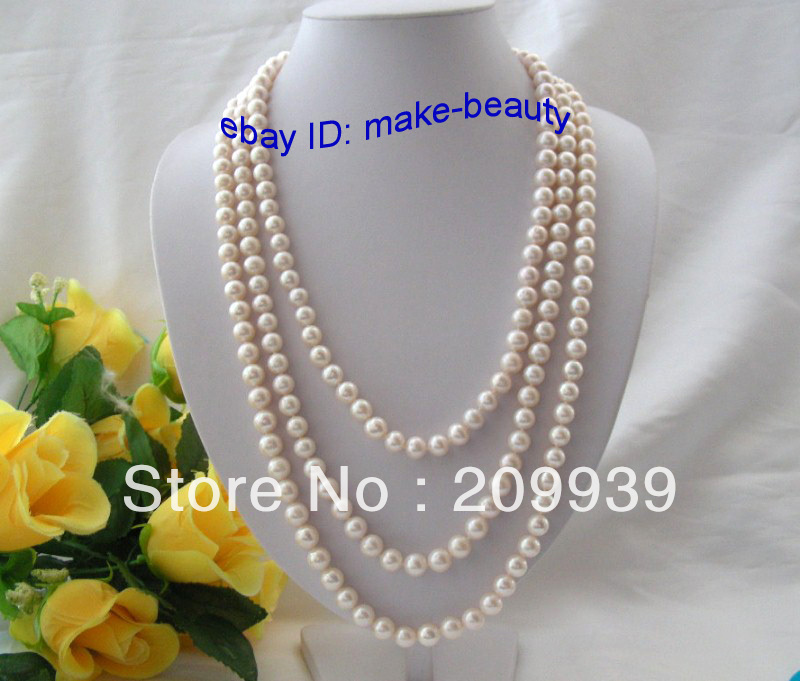 "huij 001114 SUPER long 80"" 8mm round white freshwater cultured pearl necklace"