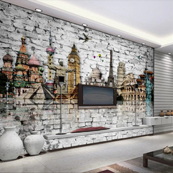Beibehang пользовательские обои 3d стерео фото фрески кирпичная стена мир архитектура Эйфелева Башня Биг-Бен ТВ фон обои