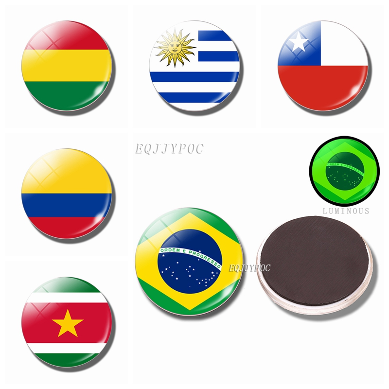 Luminous Fridge Magnets Glass 30MM Refrigerator Magnet Flag Colombia Guyana Suriname Brazil Bolivia Chile Uruguay Argentina in Fridge Magnets from Home Garden