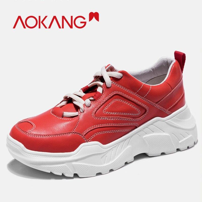 AOKANG Robusto das Mulheres Das Sapatilhas Das Mulheres de Couro Genuíno Sapatos de Plataforma Rendas Até Vulcanizar Sapatos Formadores Das Mulheres Do Sexo Feminino Sapatos do Pai