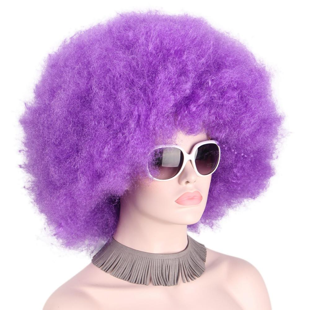 Afro Purple Clown Wig Cap Big Curly Football Fans Wigs For Adults Unisex None Lace Wigs Synthetic Hair For Black Women Cosplay