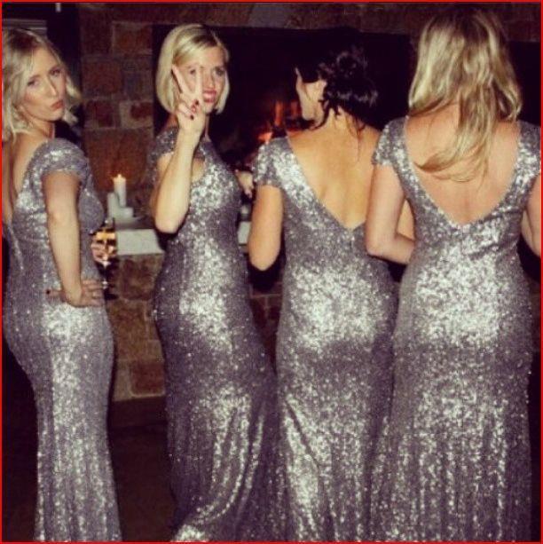 f1441275 Short Sleeve Beaded Sequins Grey Long Bridesmaid Dresses V Neck Cheap  Bridesmaid Gowns Silver Wedding Party Dresses-in Bridesmaid Dresses from  Weddings ...