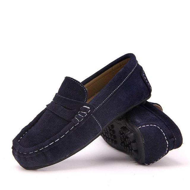 2016 Niños Zapatos de Cuero Genuino PARA Niños Niñas Zapatillas Niños Zapatos Gris Azul Verde Rojo Tamaño 26 ~ 35