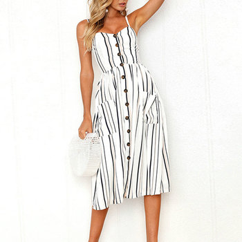 Summer Women Dress 2019 Vintage Sexy Bohemian Floral Tunic Beach Dress Sundress Pocket Red White Dress Striped Female Brand Ali9 1