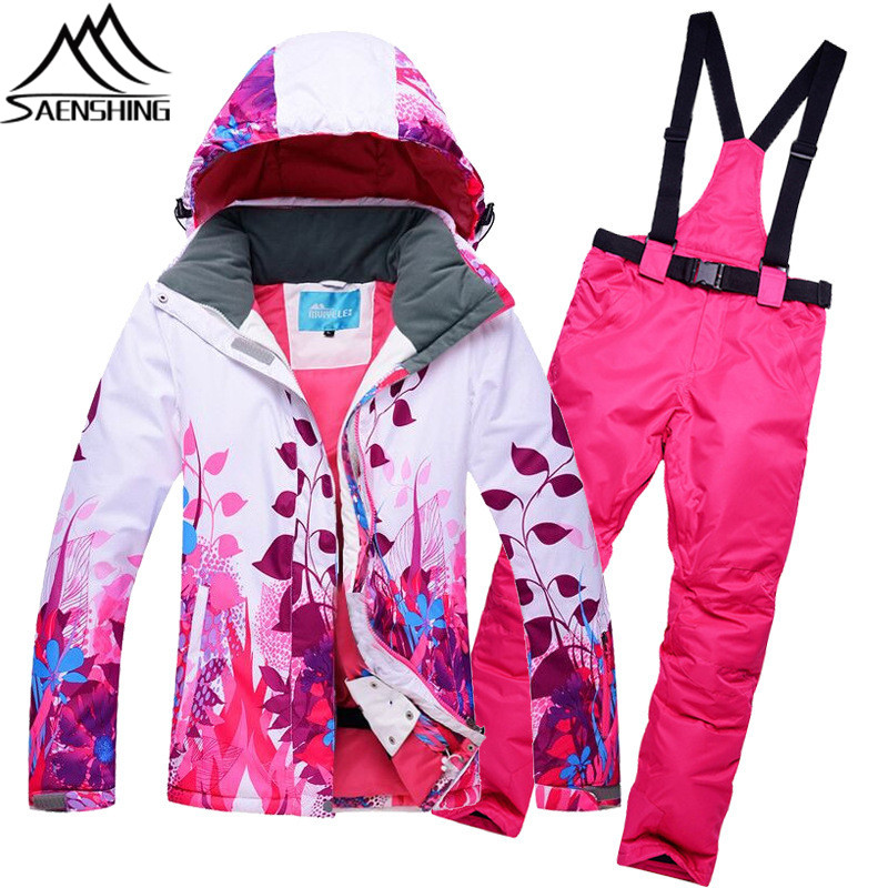 Mountain Skiing Suit Women Winter Waterproof Outdoor Ski Suit Female Ski Jacket + Snowboard Pants High Quality Snow Clothing gsou snow ski suit for women skiing suit winter outdoor sports clothes snowboard set camouflage ski jacket and pants multicolor