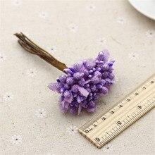chenap 10pcs Mini artificial foam Stamen Bud Bouquet Leaf flower for home Garden wedding Car corsage decoration Box crafts Suppl