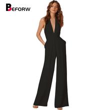 BEFORW New Arrival Summer Jumpsuits for Women 2018 Fashion Black Deep V Neck Elegant White Wide