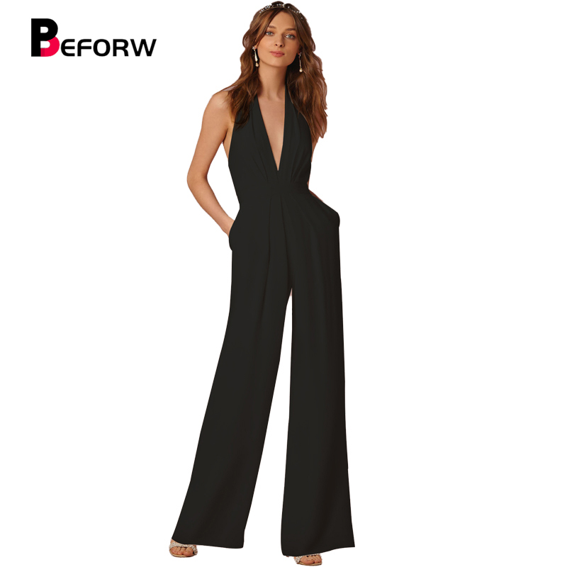 BEFORW New Arrival Summer   Jumpsuits   for Women 2018 Fashion Black Deep V Neck Elegant White Wide Leg Pants   Jumpsuit   Clubwear