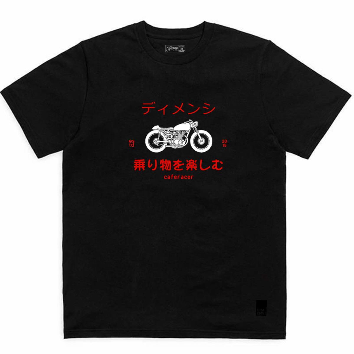 2018 New Mens T Shirts New Caferacer Black By Lima Dimensi Japanese Fonts Cafe Racer Print Round Neck ManTops in T Shirts from Men 39 s Clothing