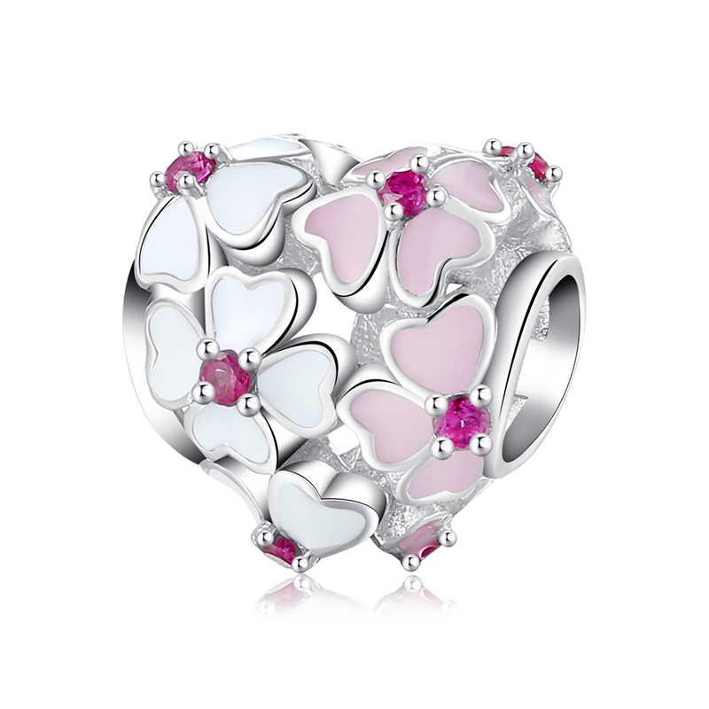 Sevgililer Günü hediyesi 925 Ayar Gümüş Pembe Kırmızı Kalp Zirkon çekici boncuklar Orijinal Pandora Charm Bilezik Takı 2018 Yeni