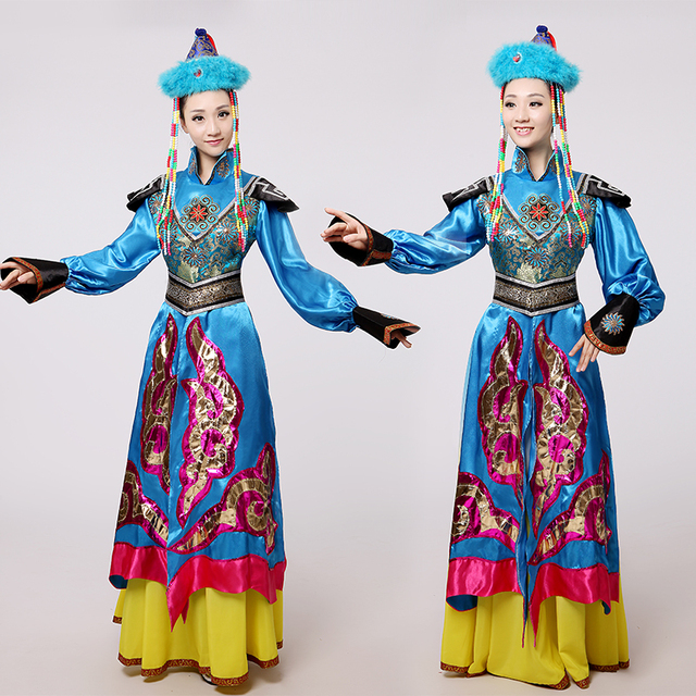 b4cdb92fd Blue Mongolian costume dance clothes Ancient princess dress stage ...
