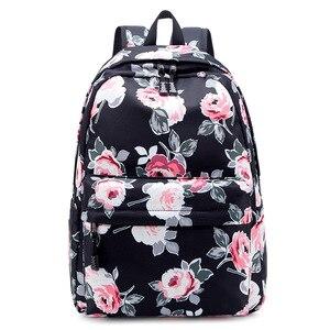 Image 4 - Sac à dos résistant pour femmes, ensemble léger et imprimé de fleurs, cartable pour adolescentes, sacoche pour ordinateur portable
