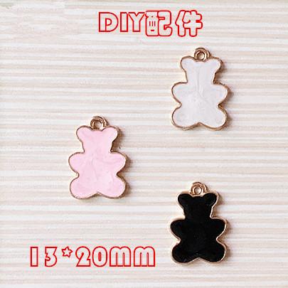 New Arrival Alloy Jewelry Enamel Charms Gold Tone Plated Metal Kawaii Animal Bear Shape  ...