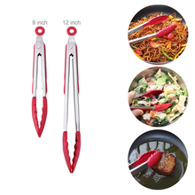2017 new two size 9 inch 12 inch silicone food cooking clip tableware stainless steel kitchen salad barbecue cooking clip