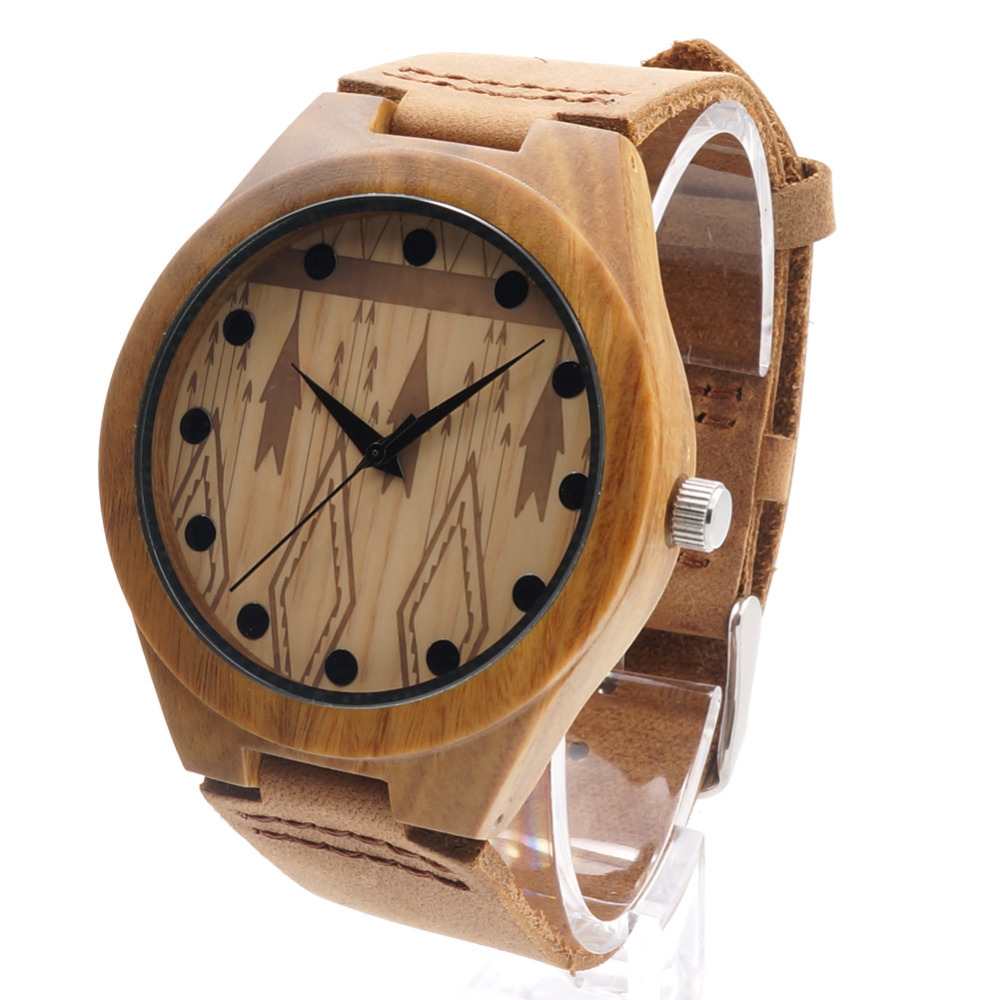 BOBO BIRD Bamboo Wooden Watches Men's With Genuine Cowhide Leather Band Luxury Wood Watches for Men Analog Casual Quartz Watch bobo bird luxury bamboo wood men watch with engrave flower bamboo band quartz casual women watch full wooden watch in gift box