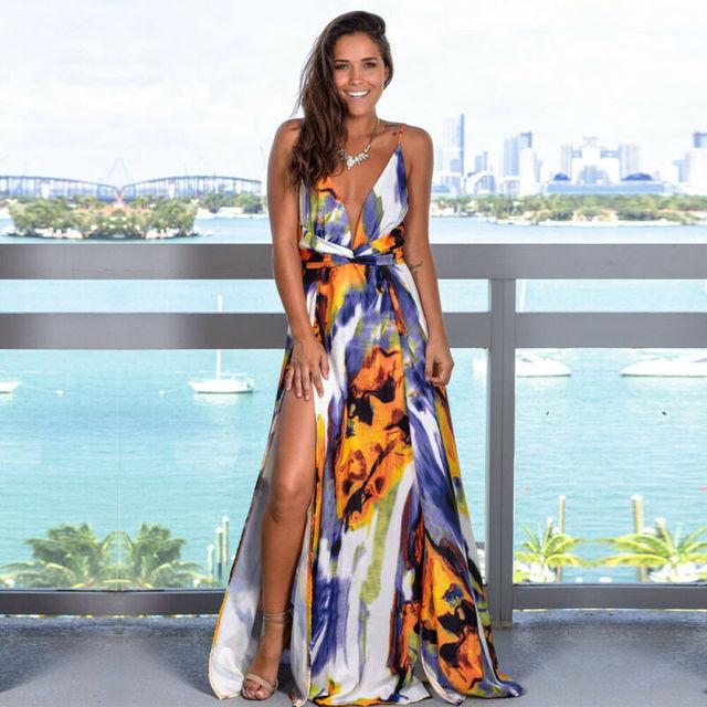 Women's Sling Floral Long Dresses arrival Summer Boho V-Neck Sleeveless Evening Party Beach Maxi Dress Casual Sundress 4