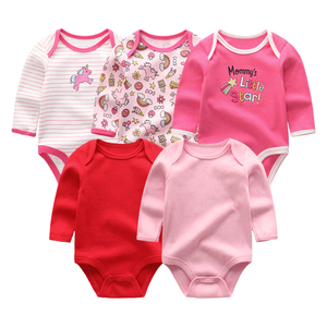 Image 3 - 2019 5pcs/lot Baby Rompers Full Sleeve Cartoon Solid Print O Neck Fashion Cotton Baby Girl Clothes Boy Clothing Roupa de bebe