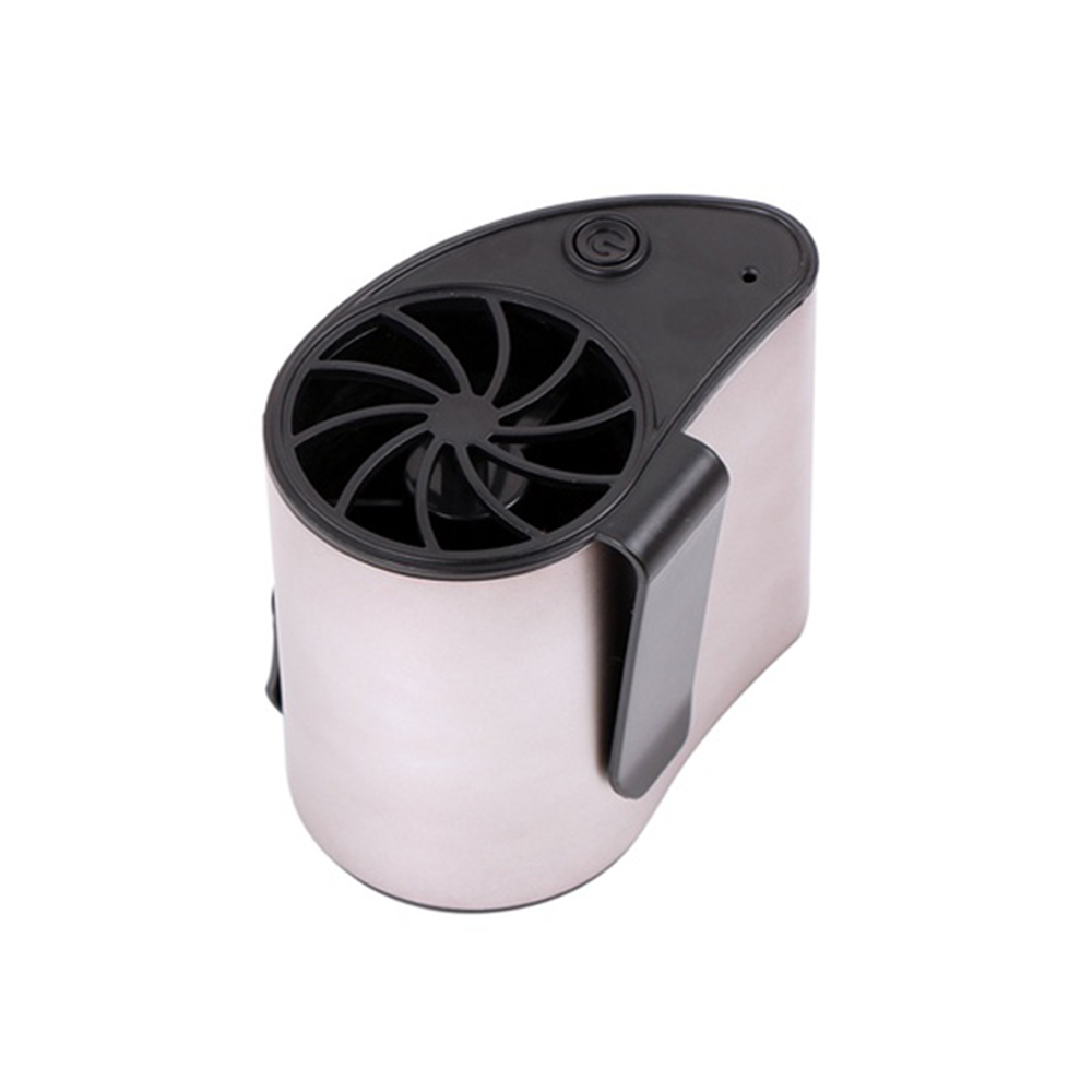 Mini Portable Waist Fan Rechargeable USB Powered Fan Low Noise Mini Desk Fan Dual-Port Fan Mobile air Conditioner with USB Charging Cable 3 Speeds Adjustable Silver