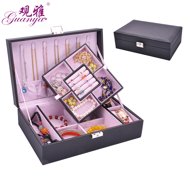 Guanya 29.5*19.8*8cm 2 layers 5colors fashion jewelry storage box necklace rings earings packing box girl women gifts