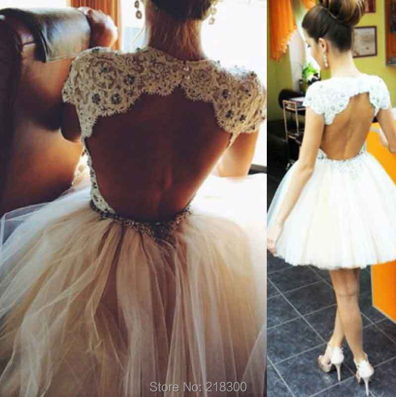 Aliexpress.com : Buy Backless White Short Prom Dresses Cap Sleeves ...