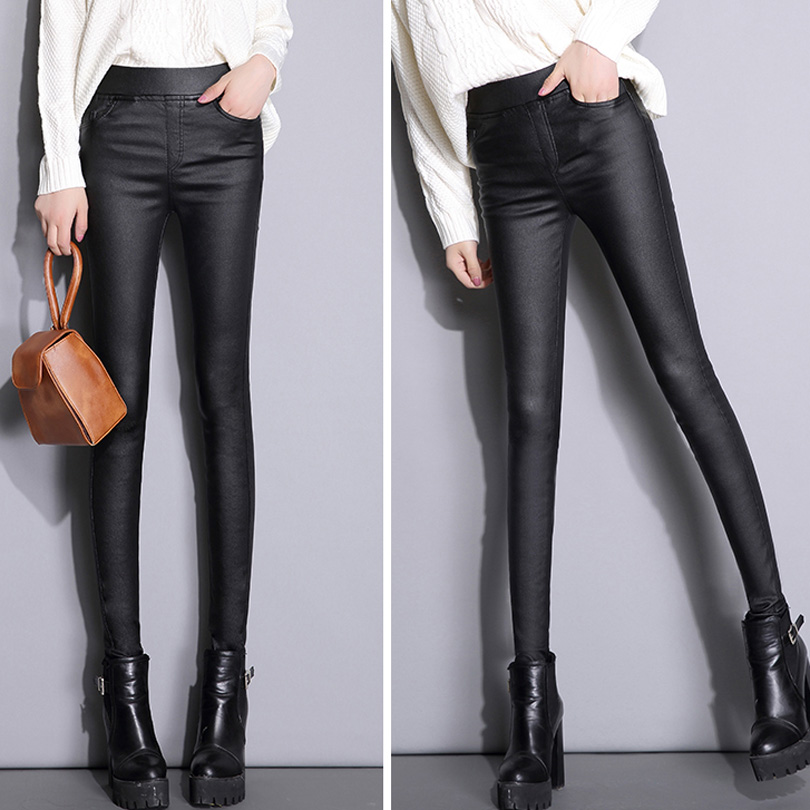 ac4cadf80c72e 2018 Women's Sexy Leather Pants High Waist Elastic Trousers Women Casual Skinny  Stretch Faux PU Pencil Pants Leggings   Ladies Mall