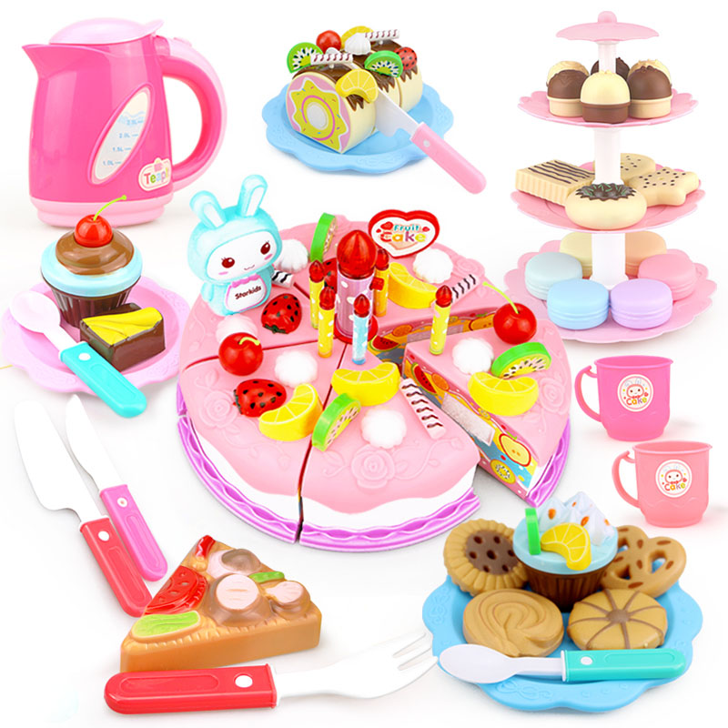 37-103PCS DIY Pretend Play Kitchen Food Toys Fruit Cutting Birthday Cake Cocina De Juguete Miniature Toy Girls Gift For Children
