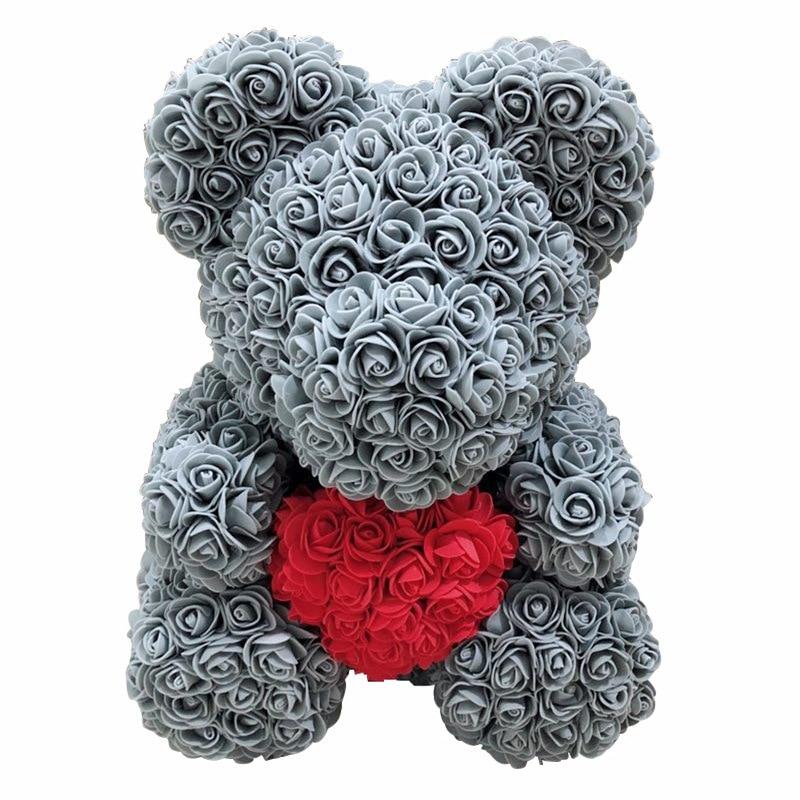 38 cm amour coeur ours en peluche fleurs artificielles savon mousse Rose fleur artificielle cadeaux de noël pour saint valentin cadeau R88