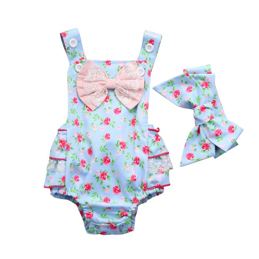 baby Girl clothing fashion cut Floral print 2PC Toddler Infant Baby Girls Floral Romper Ruched Bow Jumpsuit Outfits Cloth m5
