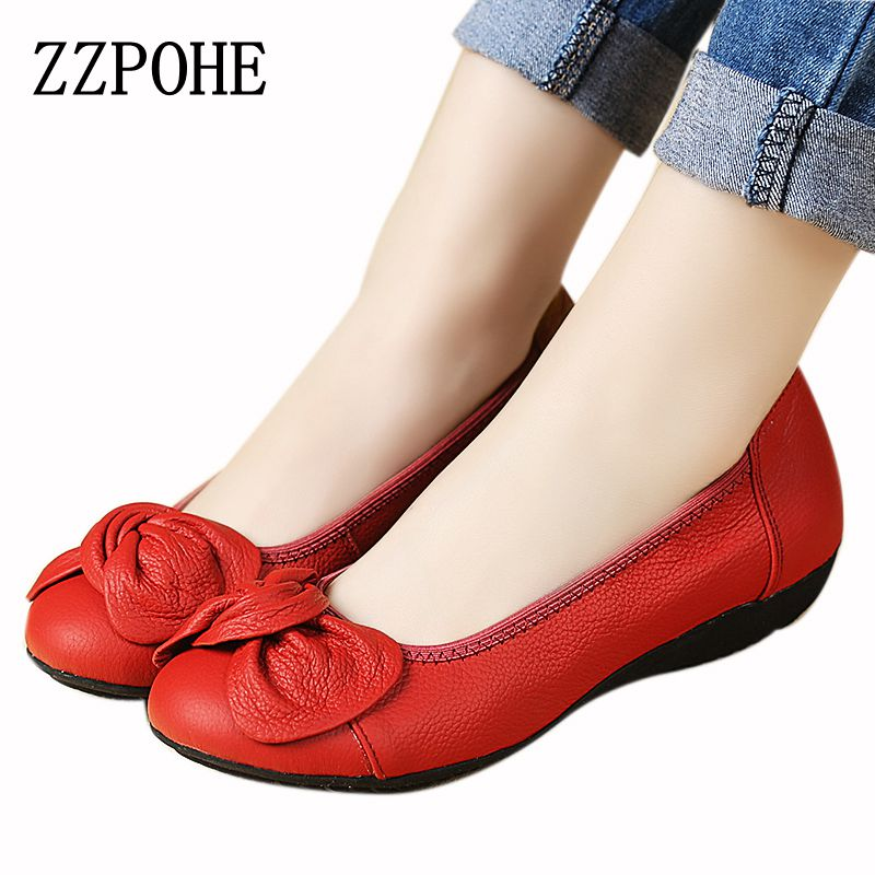 ZZPOHE Leather soft bottom shallow mouth slip women's shoes mother casual comfortable large size flat shoes women work shoes 42 siketu sweet bowknot flat shoes soft bottom casual shallow mouth purple pink suede flats slip on loafers for women size 35 40