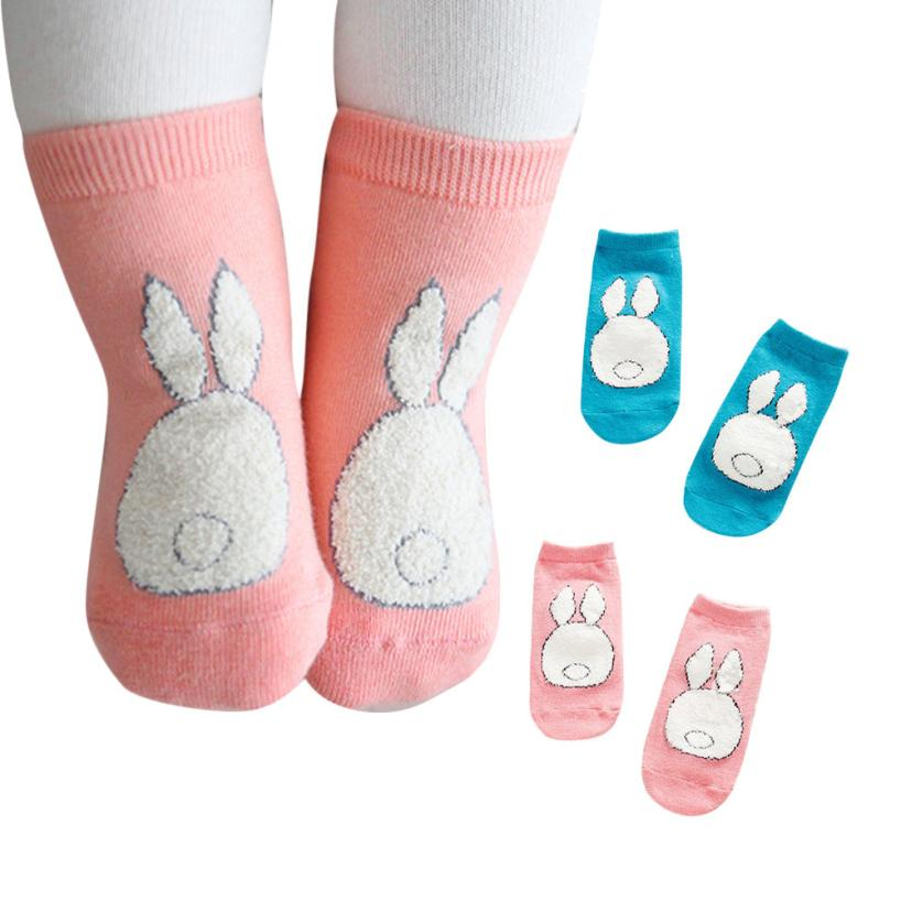2017 Warm Baby s Lovely Boy Girl Cartoon Rabbit Print Elastic Antiskid Toddler Cotton Winter Sock BTTF