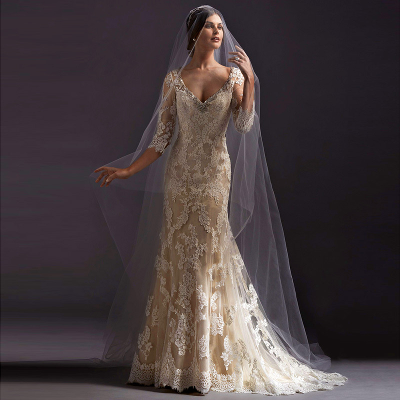 Champagne Vintage Wedding Dresses: 2015 New Arrival Hot Mermaid Lace Vintage Champagne