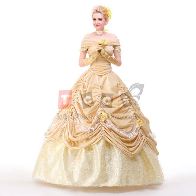 belle costume adult princess belle beauty and the beast costume cosplay halloween costumes for women dress custom  sc 1 st  Aliexpress & Online Shop belle costume adult princess belle beauty and the beast ...