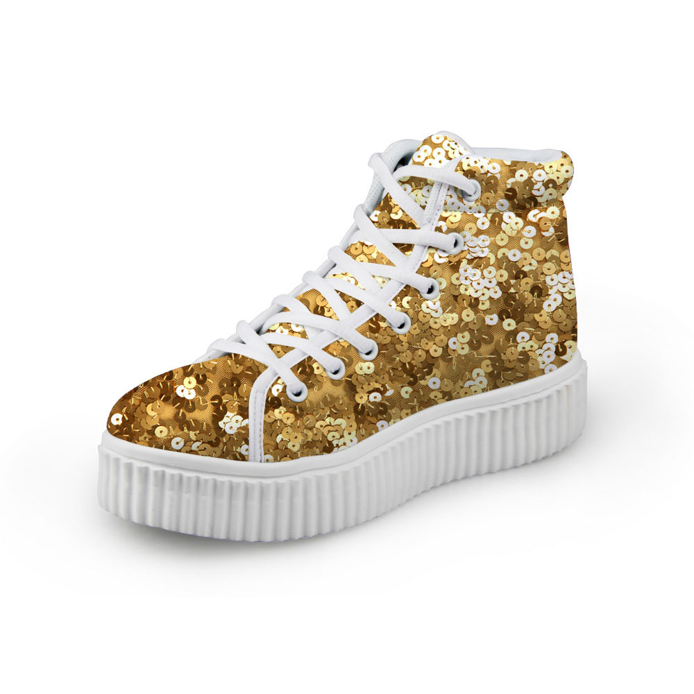 Noisydesigns Female Creepers Wedge Shoes Gold Sequins Print Girls Canvas Flat Platform A ...